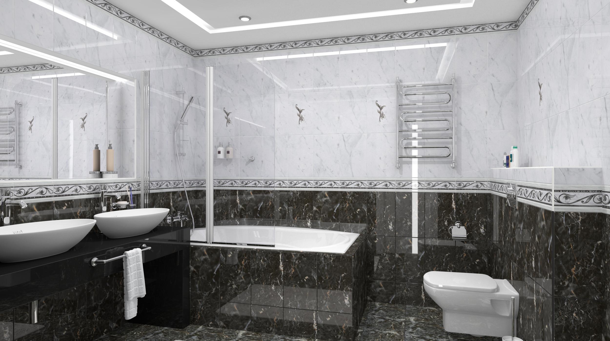Черная плитка при оформлении ванной комнаты